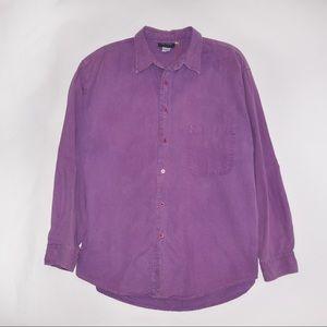 Tops - Vintage 1990's Purple Denim Dyed Button Up Shirt